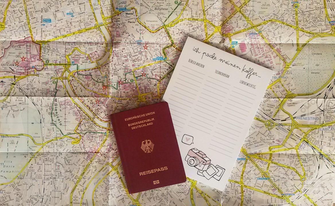 rom karte reisepass notizblock to-do-list odernichtoderdoch ich packe meinen koffer