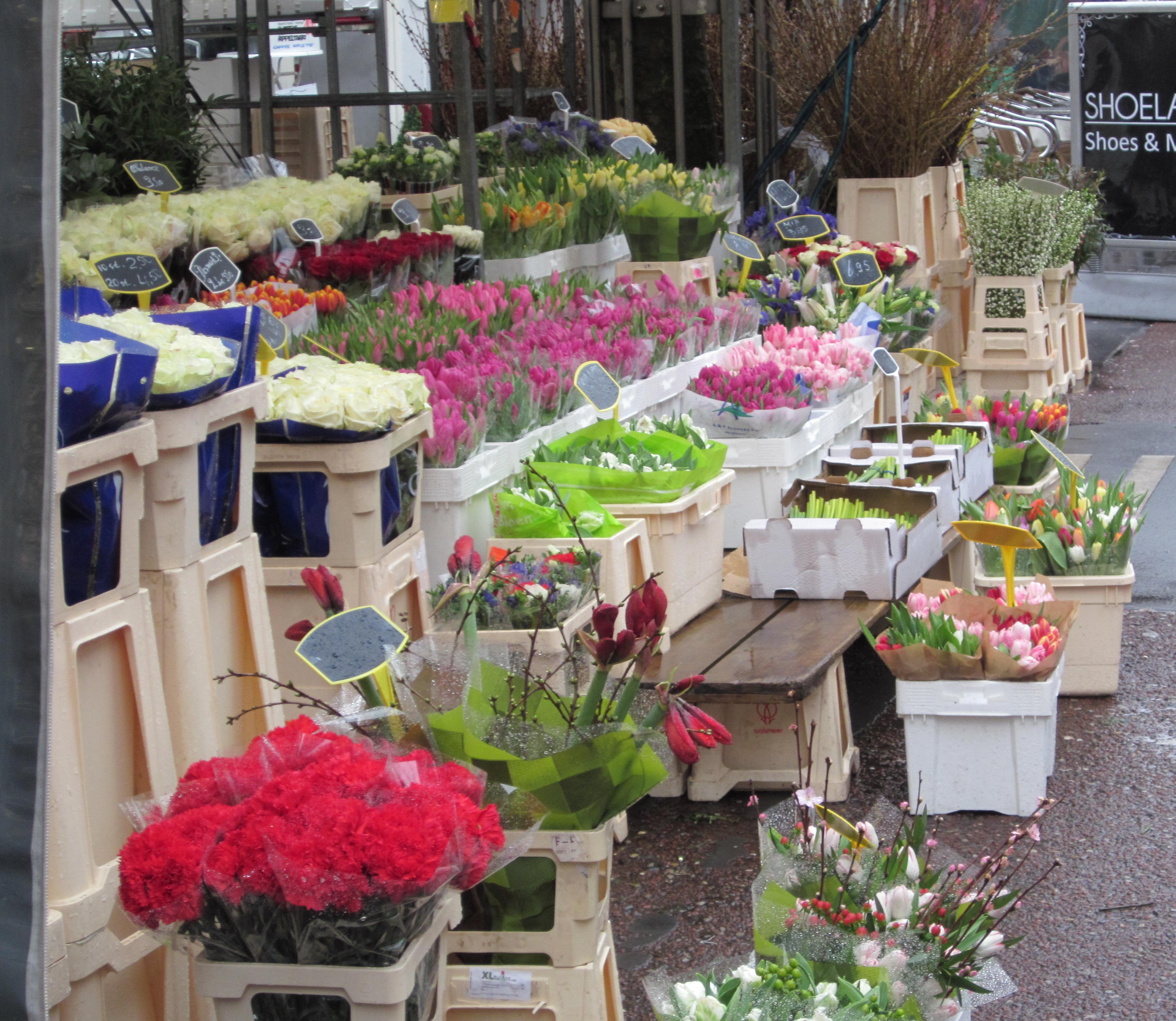 markt amsterdam holland niederlande blumen waffeln jean above the clouds